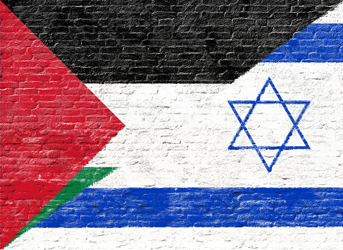 istock Israel and Palestine - National flag on Brick wall 489871486