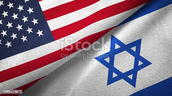 istock Israel and United States two flags together realations textile cloth fabric texture 1089423612
