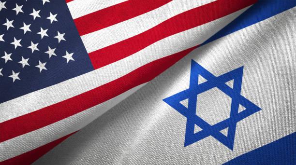 israel e os estados unidos duas bandeiras realations juntos têxtil pano tecido textura - israel - fotografias e filmes do acervo