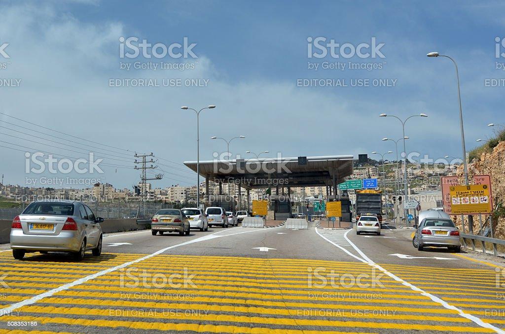 Israel Border Police checkpoint to Jerusalem stock photo