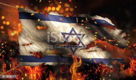 istock Israel Burning Fire Flag War Conflict Night 3D 517928111