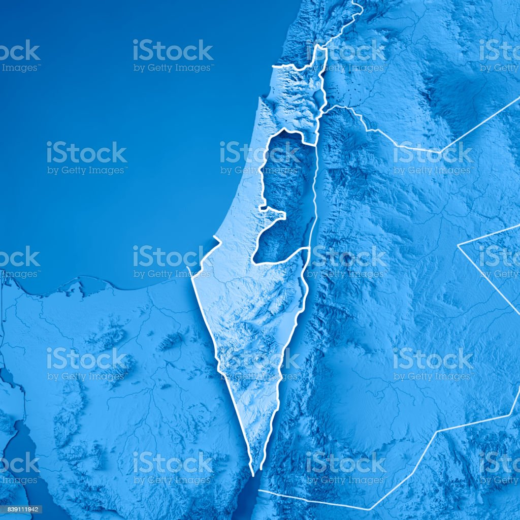Israel Country 3d Render Topographic Map Blue Border Stock Photo