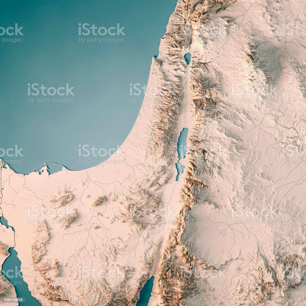 Israel Country 3d Render Topographic Map Neutral Stock Photo More