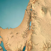 Israel Country 3D Render Topographic Map