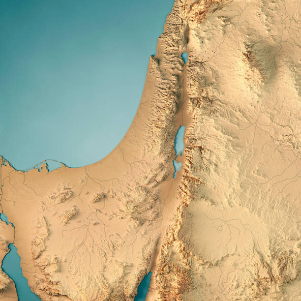Israel Country 3D Render Topographic Map stock photo