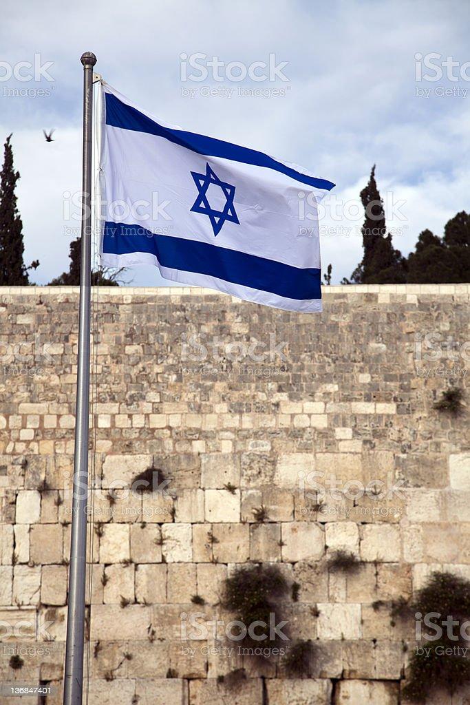 Israel Flag and The Wailing Wall royalty-free stock photo