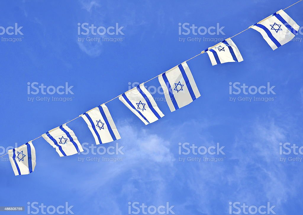 Israel Flag chain on Independence Day stock photo