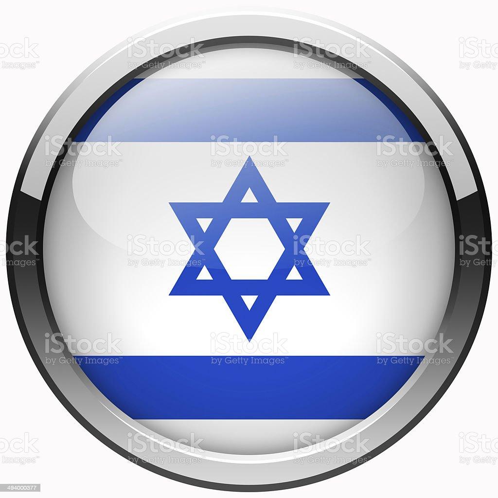 israel flag gel metal button stock photo