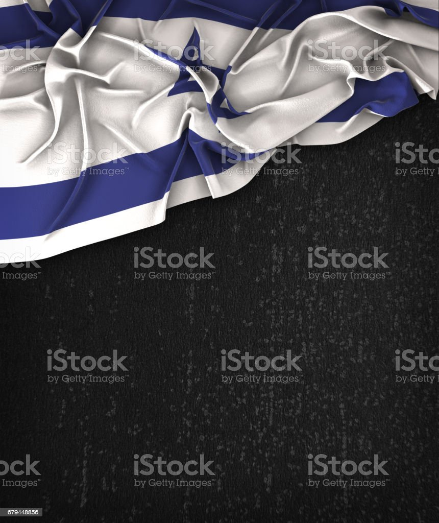 Israel Flag Vintage on a Grunge Black Chalkboard With Space For Text royalty-free stock photo