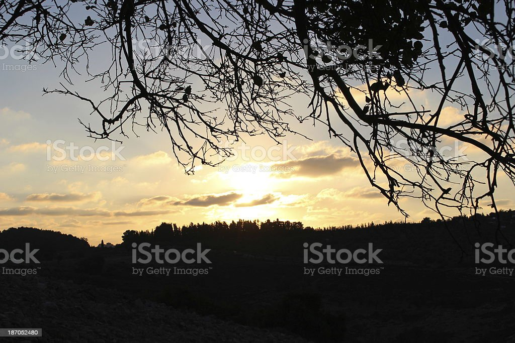 Israel Galilee autumn sunset stock photo
