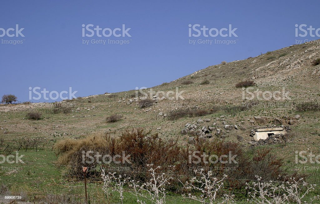 Israel  Golan Heights Mine field stock photo