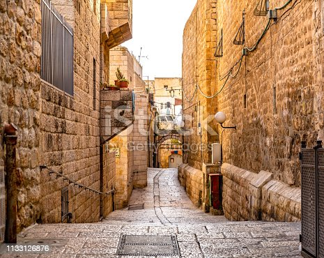 This pic shows Old narrow streets of  Old city jerusalem of Israel The pic shows Old streets and alley in jaffa of jerusalem. The pic is taken in day time and in January 2019.