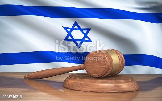 3d Render Judge Gavel and israel flag on background (close-up)