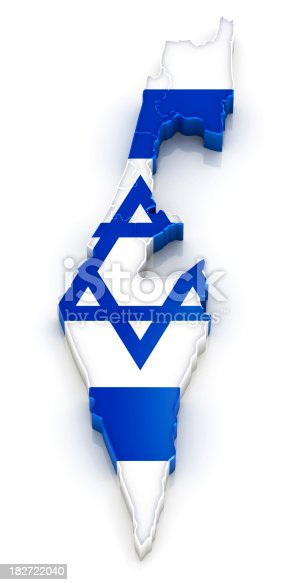 istock Israel map with flag 182722040