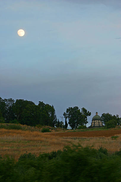 Israel Mount of Beatitudes with full moon stock photo