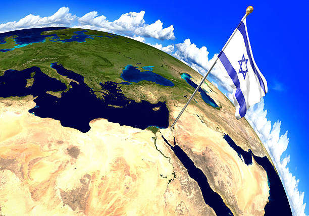 Israel national flag marking the country location on world map stock photo