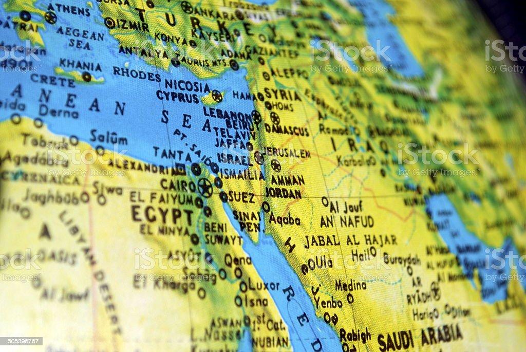 Israel on the Globe royalty-free stock photo