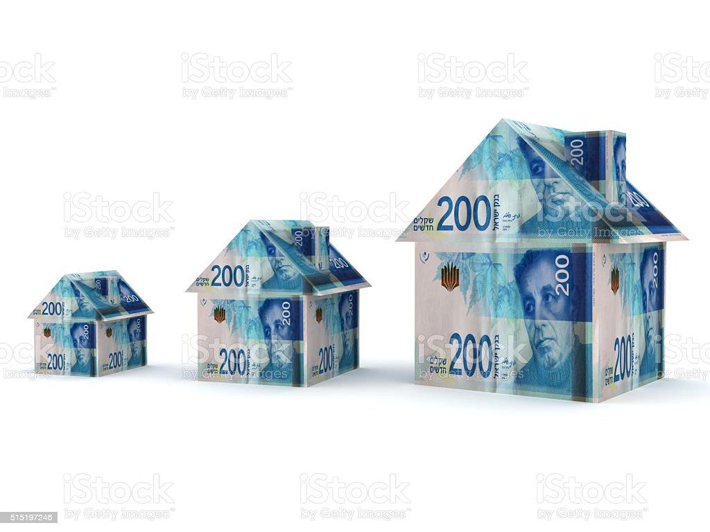 Israel shekel real estate price growth stock photo