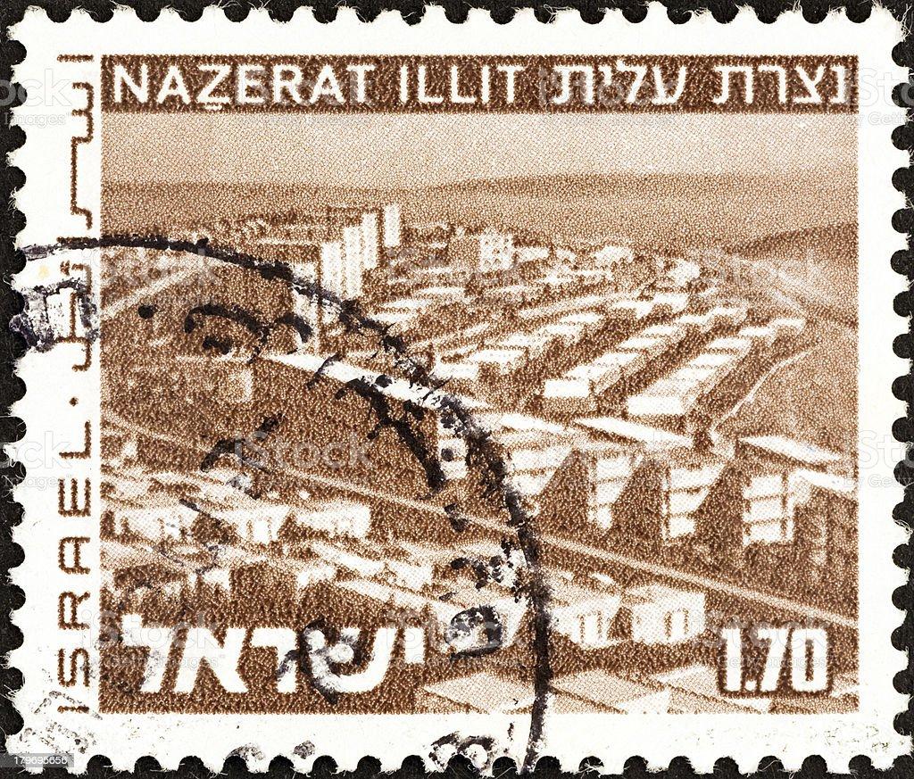 Israel stamp shows Upper Nazareth (1971) royalty-free stock photo