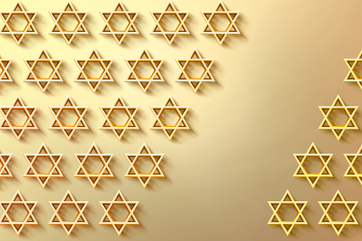 istock Israel star. Seal of Solomon icon. Jewish Star of David six sointed star. Gold hexagram on white background. 3d illustration 1174103303