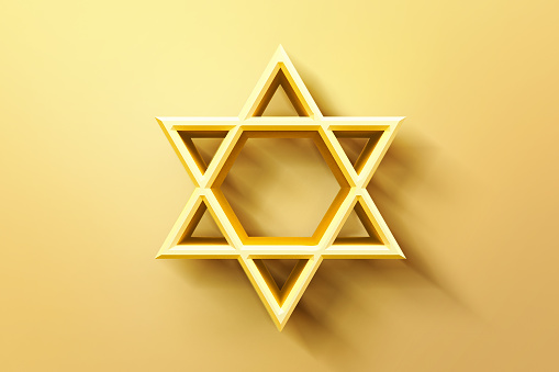 istock Israel star. Seal of Solomon icon. Jewish Star of David six sointed star. Gold hexagram on white background. 3d illustration 1175183493