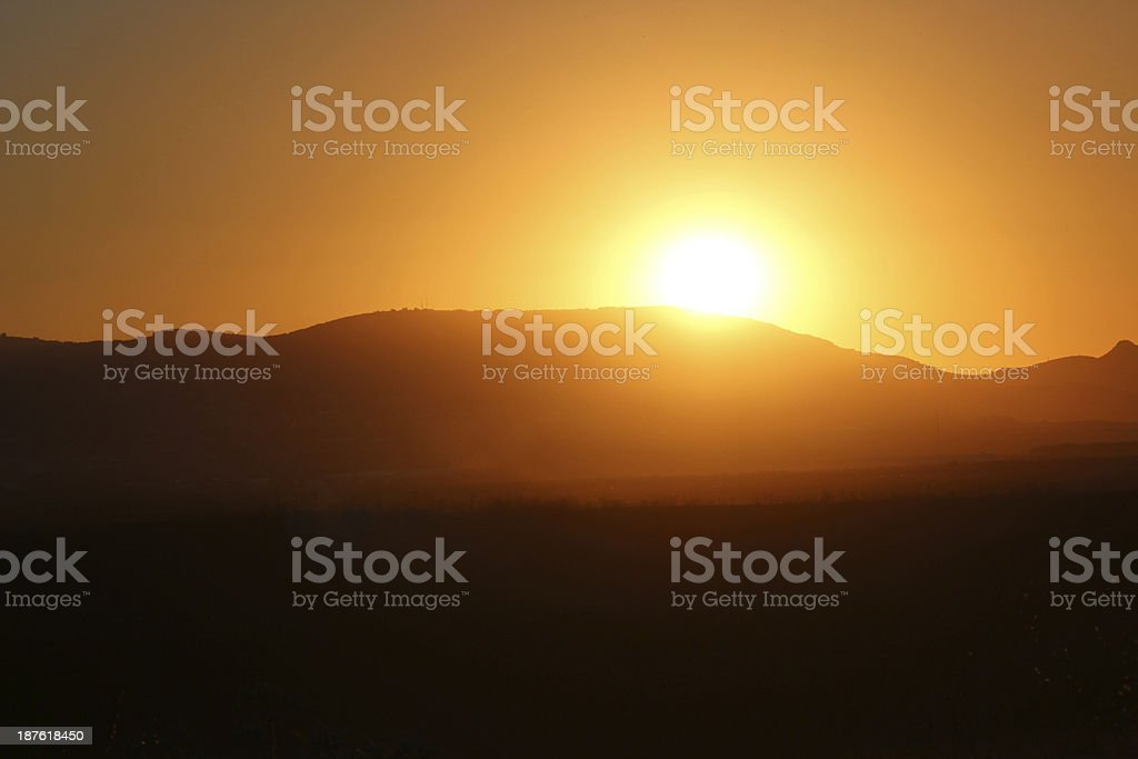 Israel Sunrise over Galillee hills stock photo