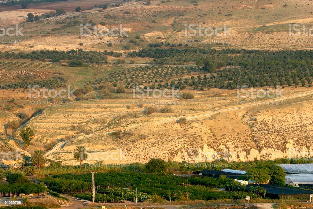 Israel Syria Jordan border zone stock photo