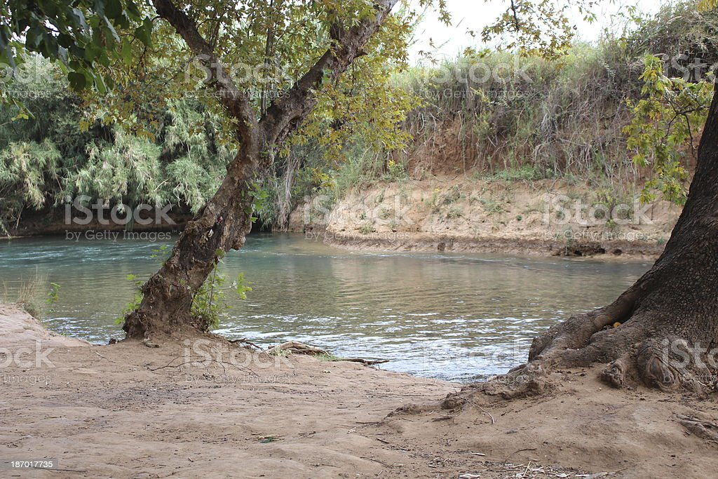 Israel the Hasbani river or Snir stream stock photo