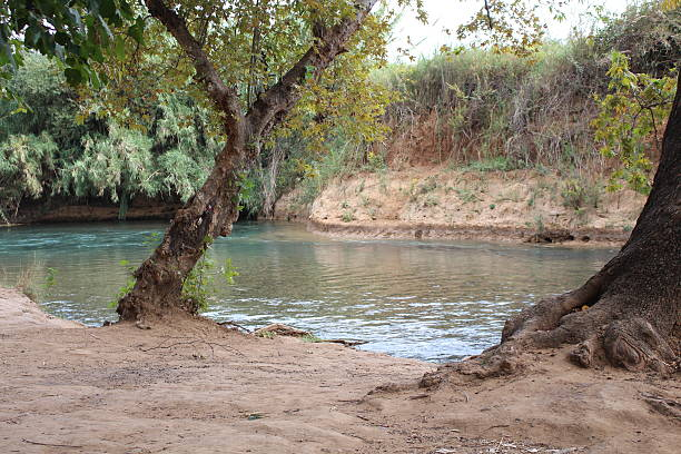 Israel the Hasbani river or Snir stream stock photo
