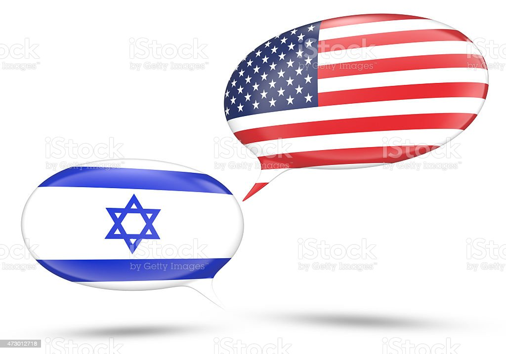 Israel - United States relations concept with speech bubbles stock photo
