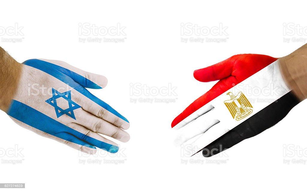 Apretón de manos de Israel y Egipto - foto de stock