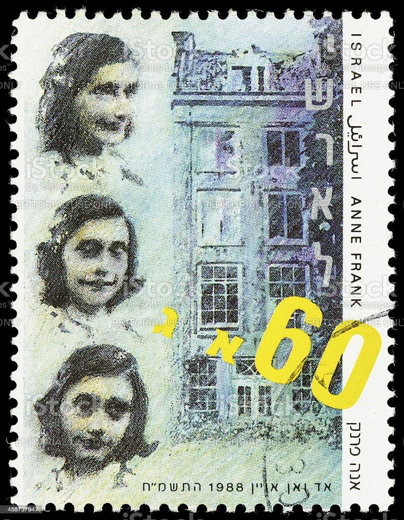 Israeli Anne Frank postage stamp stock photo