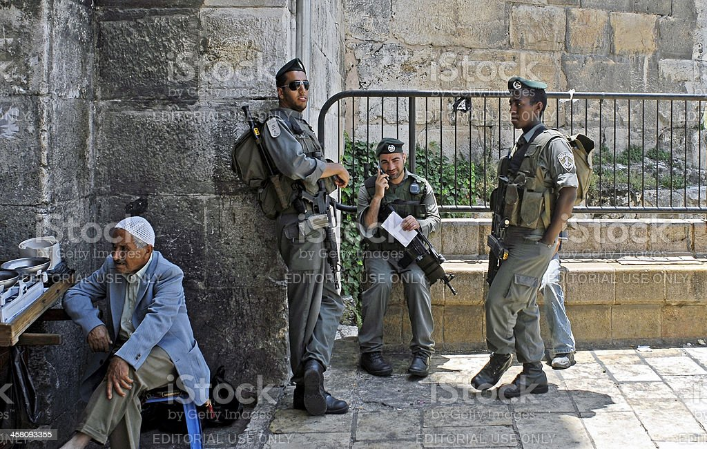 Israeli Border Guard at Damascus Gate, Jerusalem royalty-free stock photo