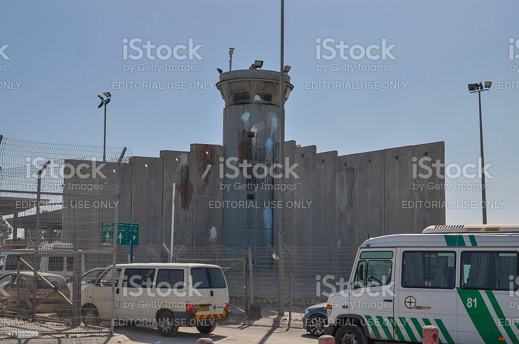Israeli checkpoint, West Bank stock photo
