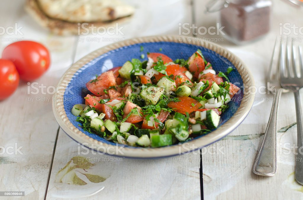 Israeli chopped salad stock photo