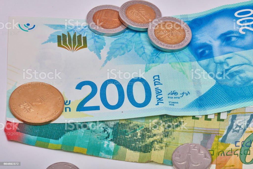 Israeli currency stock photo