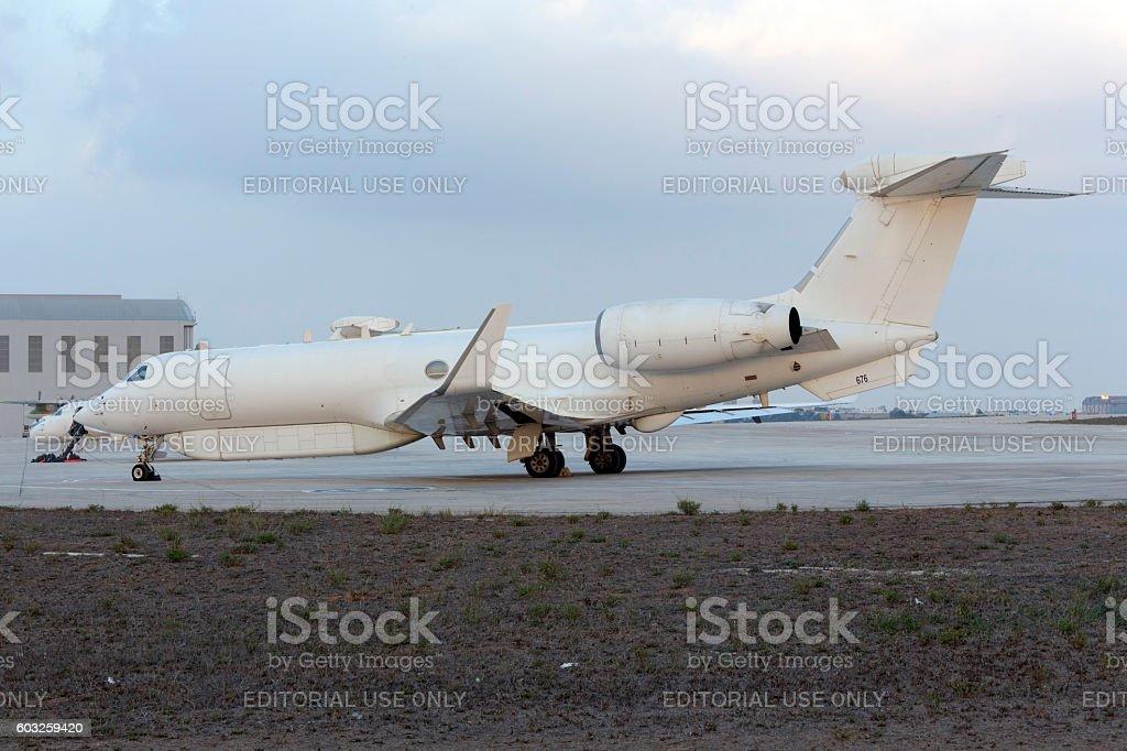 Israeli Electronics Warfare Gulfstream parked in apron. stock photo