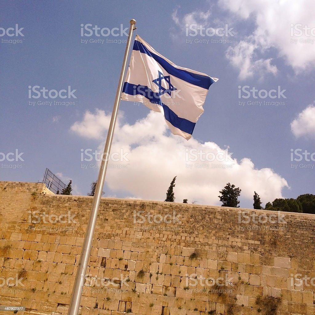 Israeli flag and Western Wall, Jerusalem, Israel stock photo