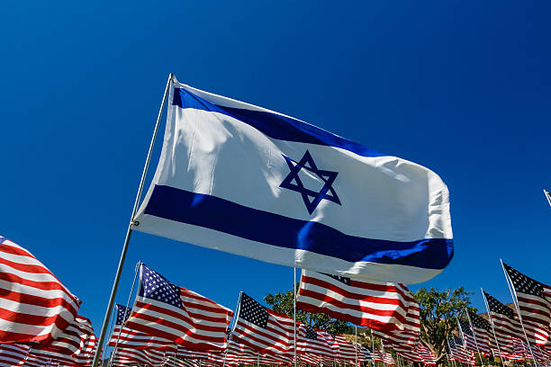 Israeli Flag in a Field of American Flags stock photo