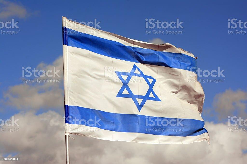 Israeli flag in the wind stock photo