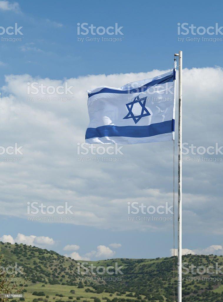 Israeli flag on Golan Heights stock photo