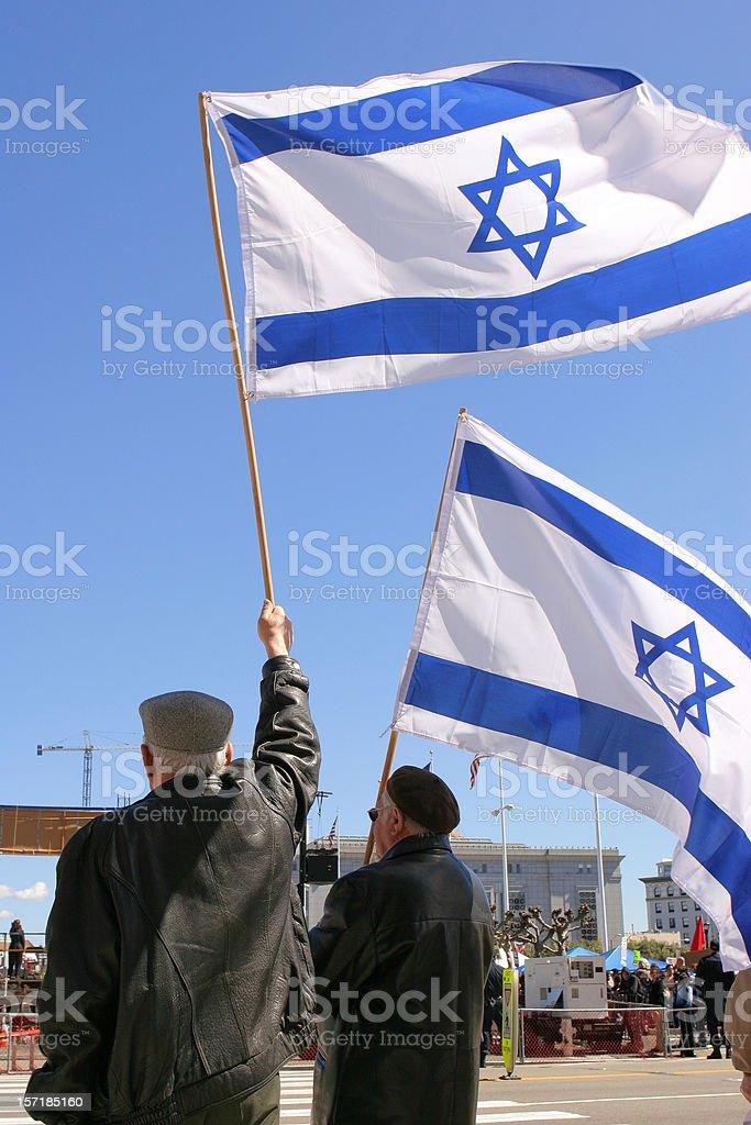 Israeli Flags stock photo