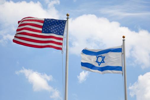 Usa Israeli Flags Stock Photo - Download Image Now