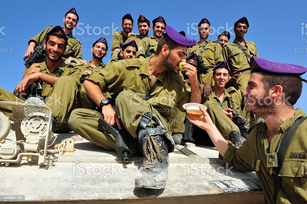 Israeli IDF soldiers Celebrate Rosh Hasahanah stock photo