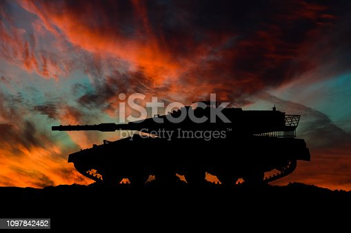 Israeli main battle tank silhouette / 3d illustration