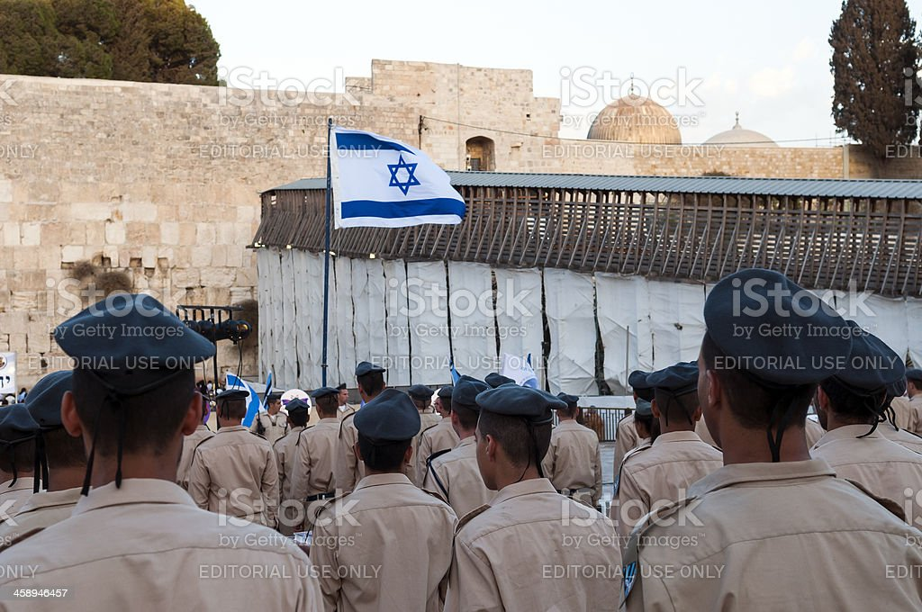 Israeli military at the Western Wall stock photo