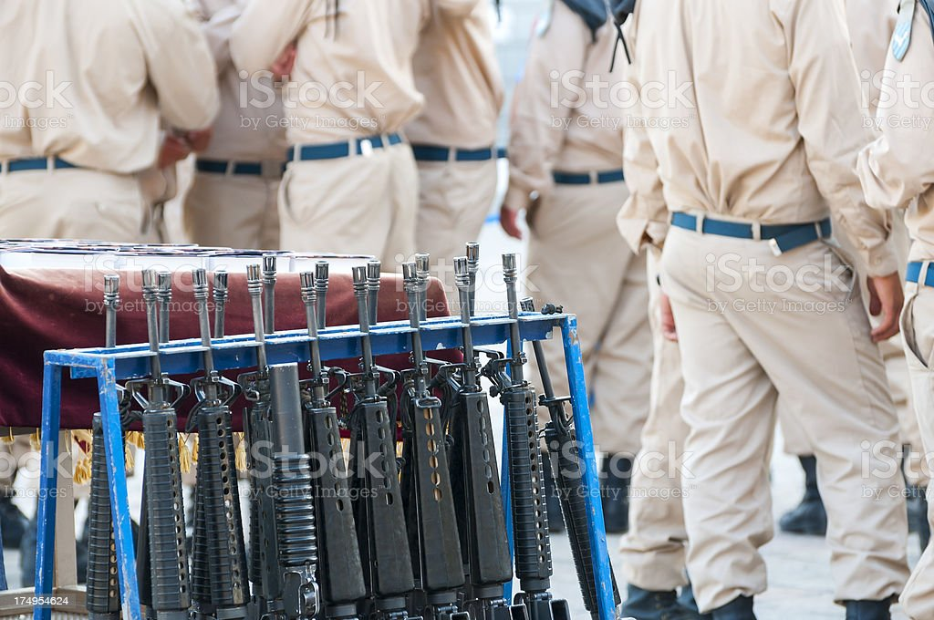 Israeli military: guns and Bibles stock photo