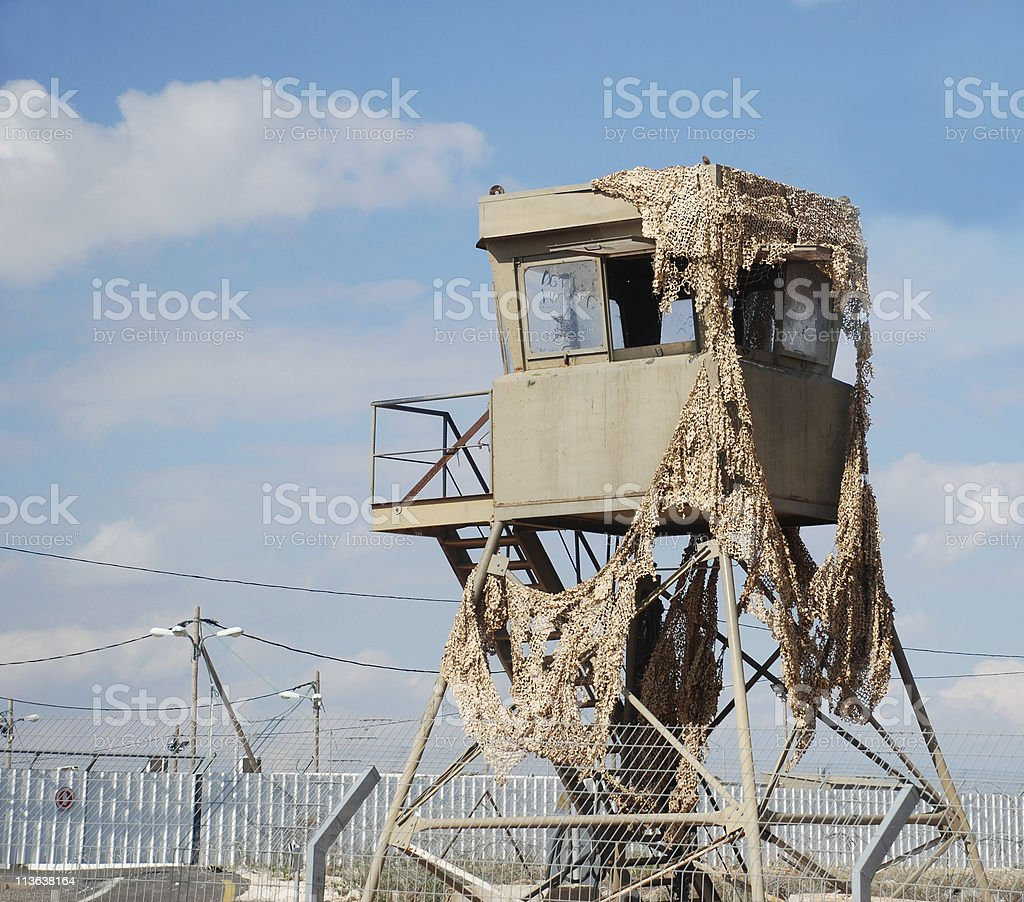 Israeli military watchtower in the West Bank stock photo