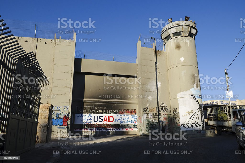 Israeli security tower and wall royalty-free stock photo