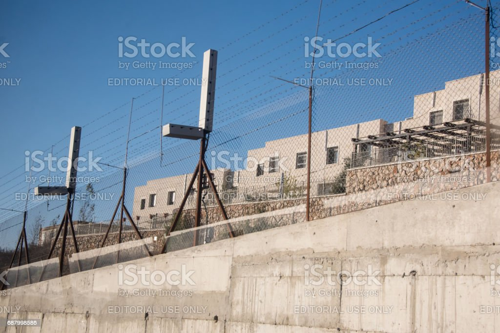 Israeli settlement and separation barrier in occupied Palestinian territory stock photo